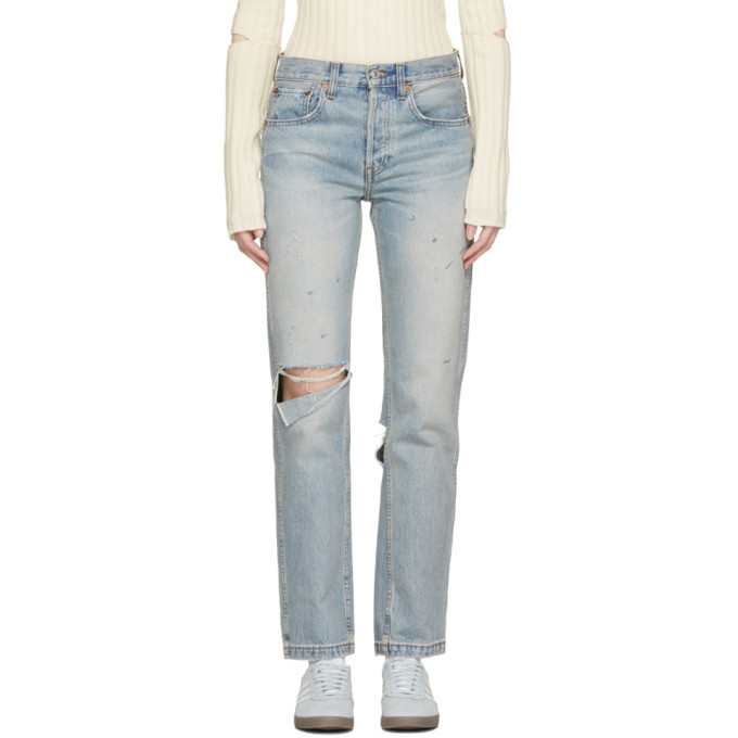 Re/Done Blue Originals Grunge Straight Jeans