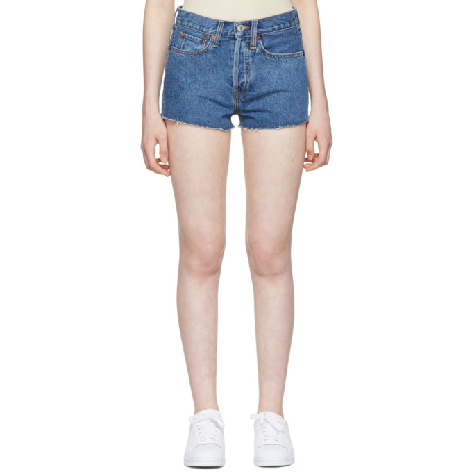 Re/Done Blue Originals Denim 'The Short' Shorts