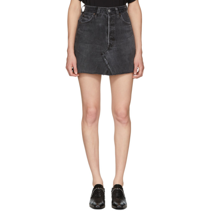 Image of Re/Done Black Levi's Edition High-Rise Denim Miniskirt
