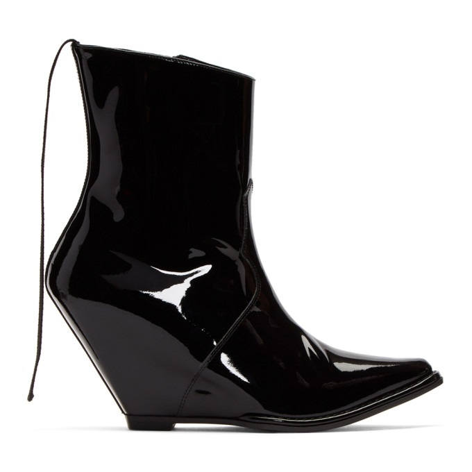 Unravel Black Latex Low Wedge Boots