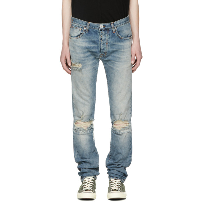 Image of Unravel Blue Distressed Stretch Jeans