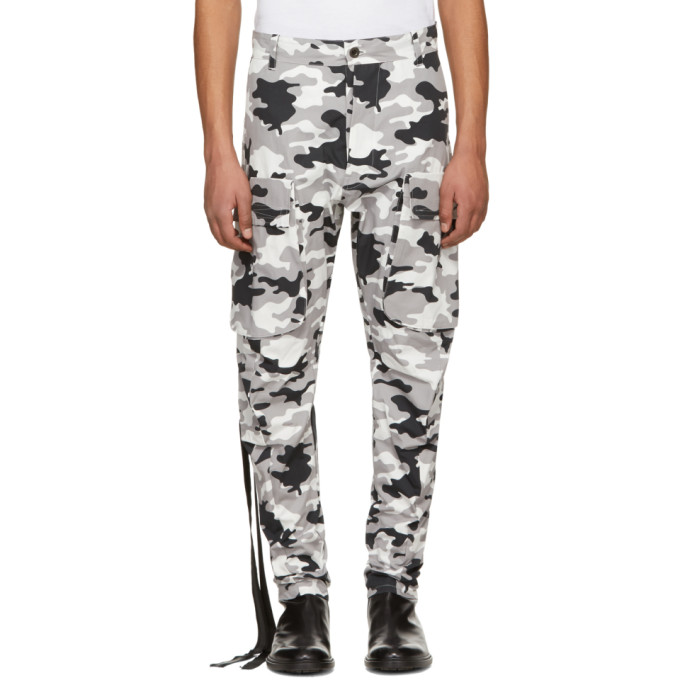 Unravel Grey Camo Tela P Drop Trousers