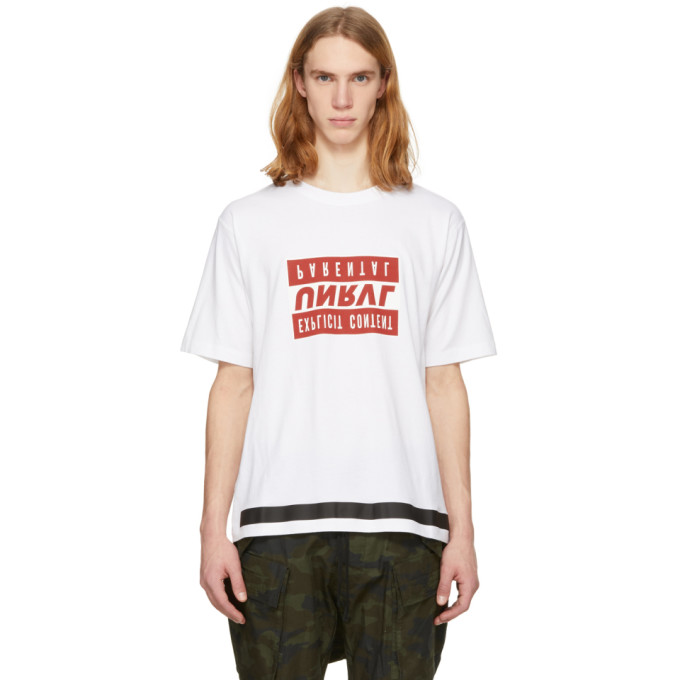 Unravel White & Red Explicit Skate T-Shirt