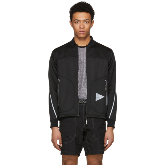 and Wander Black Line Zip Bomber Jacket