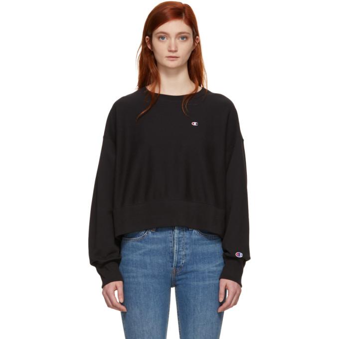 Image of Champion Reverse Weave Black Basic Oversized Small Logo Sweatshirt