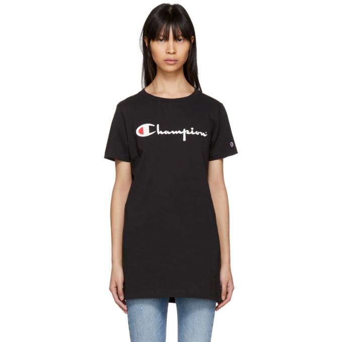 Image of Champion Reverse Weave Black Big Logo T-Shirt
