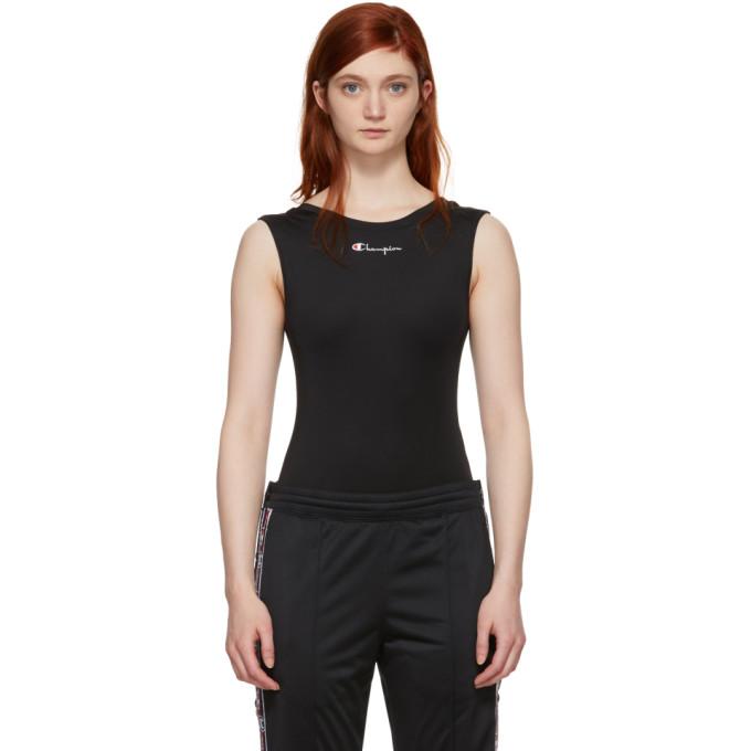 Image of Champion Reverse Weave Black Jersey Logo Bodysuit