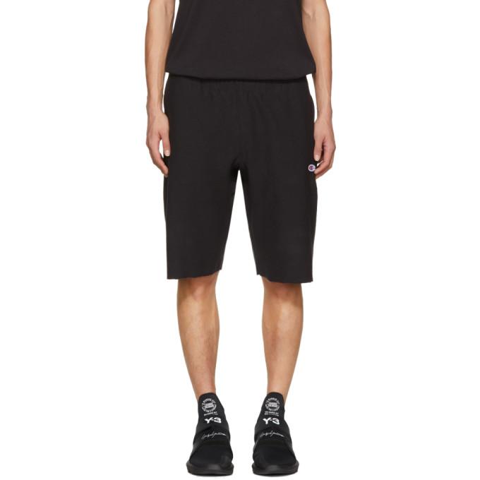 Image of Champion Reverse Weave Black Logo Shorts