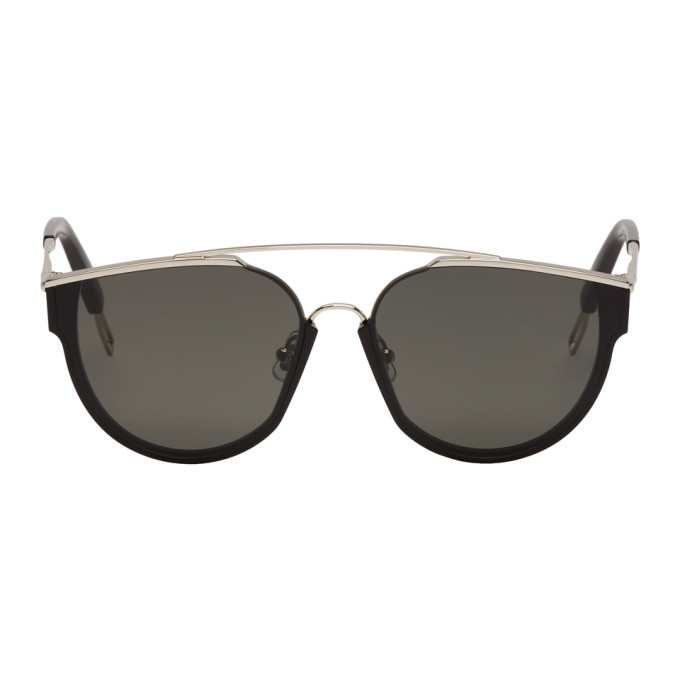 Image of Gentle Monster Black & Silver Loe Sunglasses