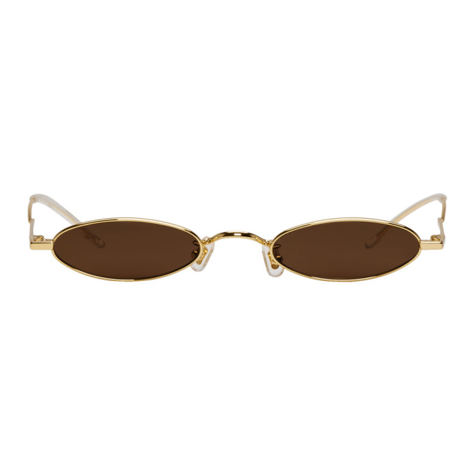 Image of Gentle Monster SSENSE Exclusive Gold & Brown Vector Sunglasses
