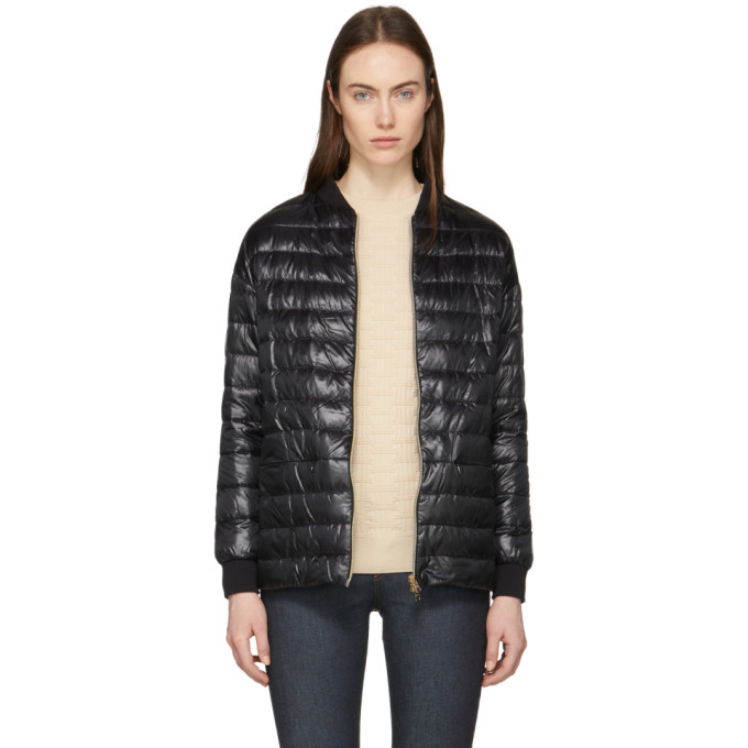 Image of Herno Black Down Cocoon Bomber Jacket