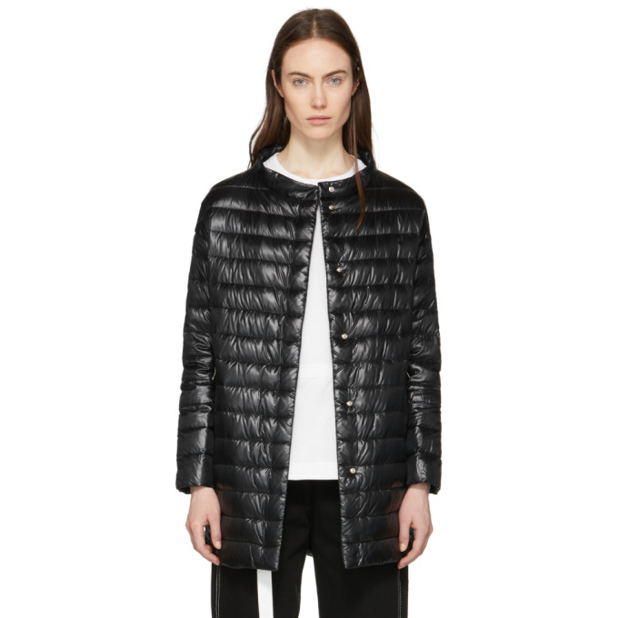 Image of Herno Black Down Long Cocoon Coat