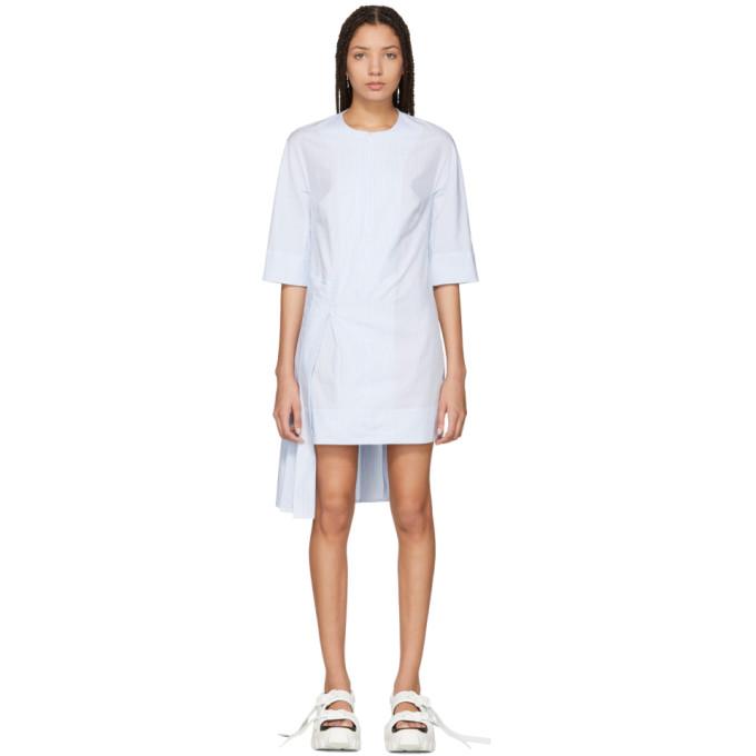 Image of Eckhaus Latta Blue & White Striped Hyphen Dress
