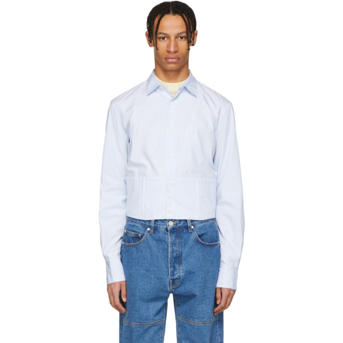 Eckhaus Latta Blue & White Stripe Boned Shirt