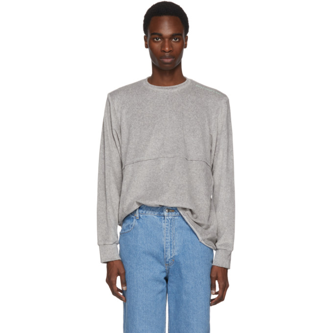 Eckhaus Latta Grey Velour Lapped Sweater