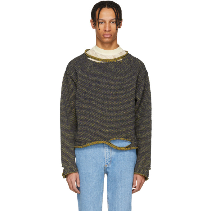 Eckhaus Latta Navy & Yellow Wiggly Road Sweater