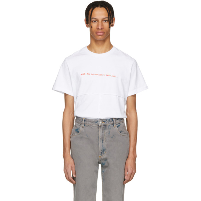 Eckhaus Latta White Lapped T-Shirt