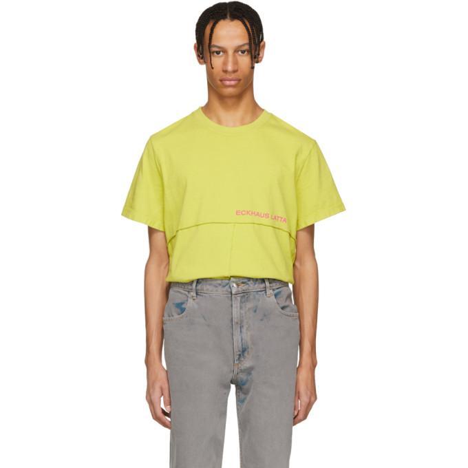 Eckhaus Latta Yellow Lapped T-Shirt