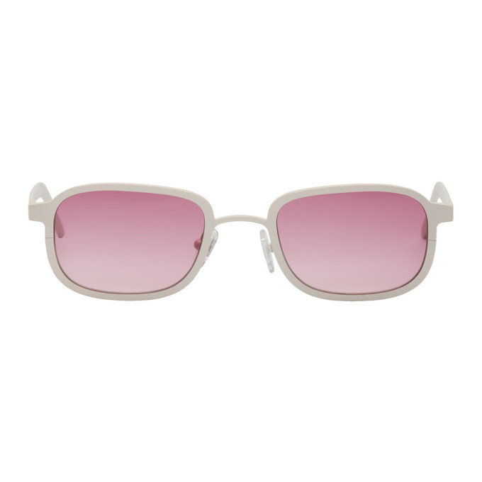 Image of BLYSZAK SSENSE Exclusive White & Pink Square Collection III Sunglasses