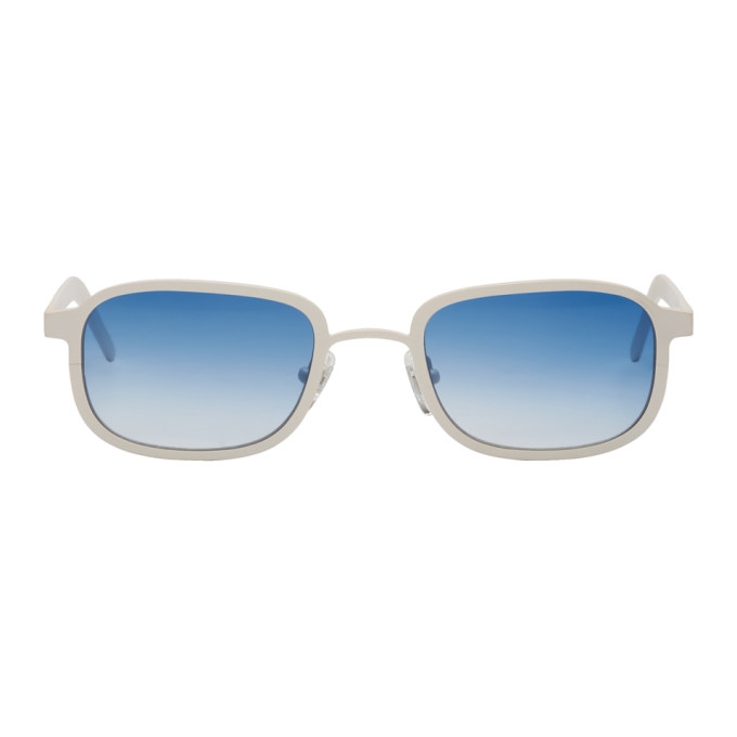 Image of BLYSZAK SSENSE Exclusive White & Blue Square Collection III Sunglasses