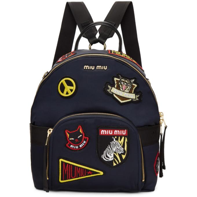 Miu Miu Navy Patches Backpack
