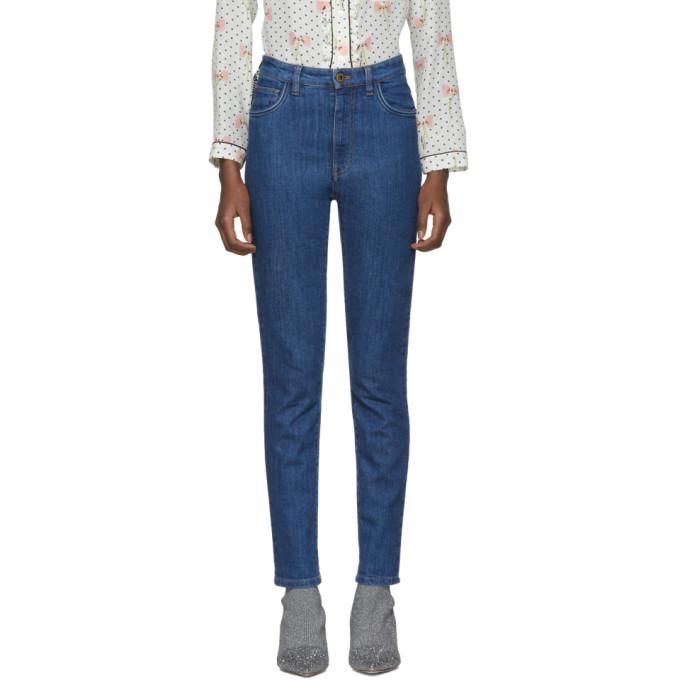 Miu Miu Blue Vichy Ribbon Jeans