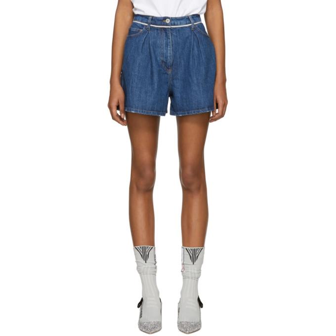 Miu Miu Blue Denim Selvedge Seam Shorts