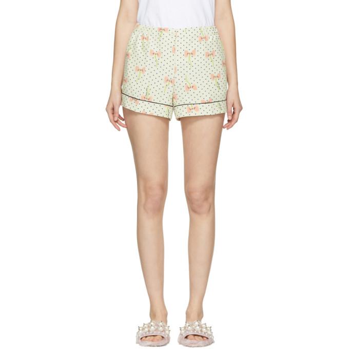Miu Miu Ivory Polka Dot & Bow Pyjama Shorts