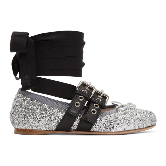 72066b1ee7644 Miu Miu Silver Glitter Double Bands Ballerina Flats