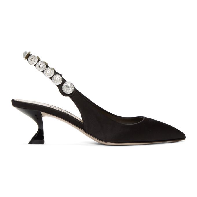 Image of Miu Miu Black Crystal Slingback Heels