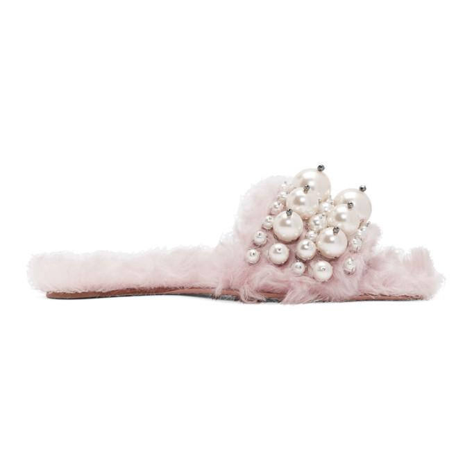 Miu Miu-Pink Eco Shearling Pearl Slides