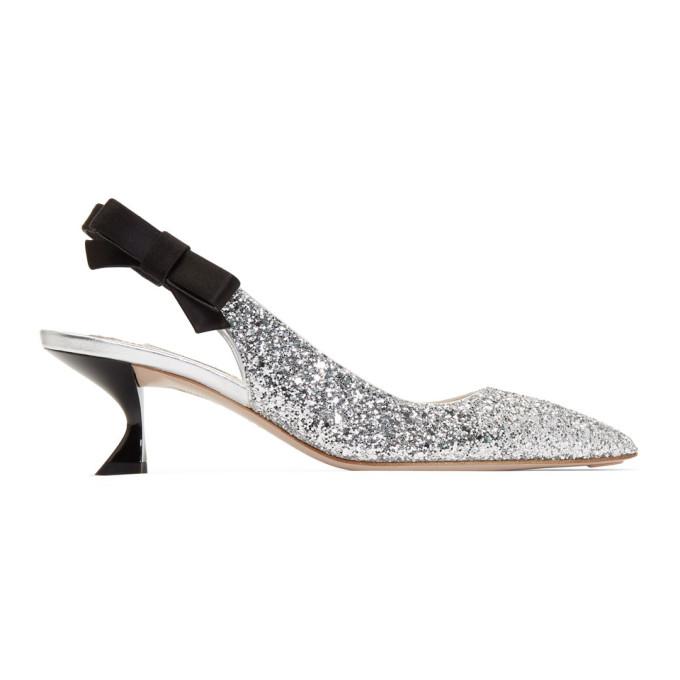 Miu MiuSilver Glitter Satin Ribbon Heels