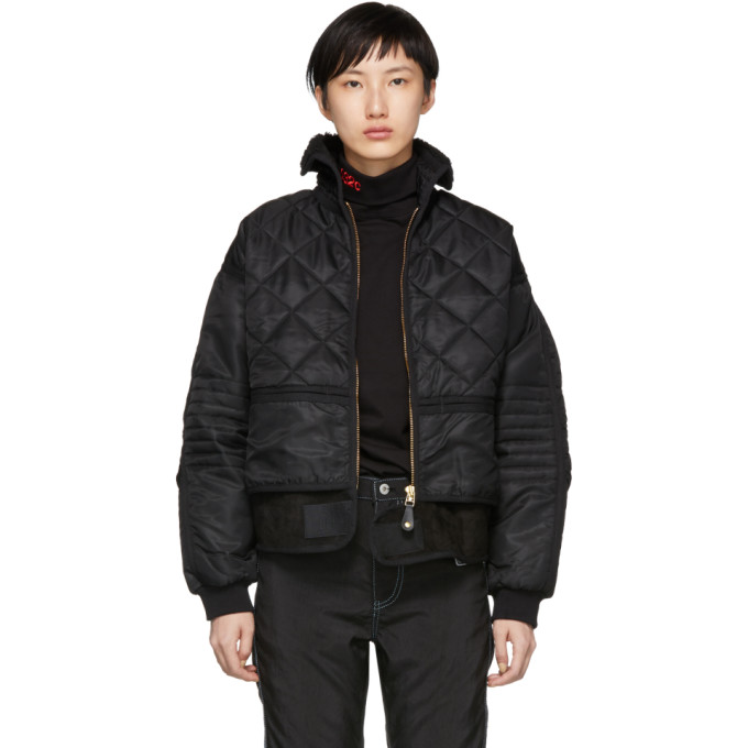 Image of 032c Black Cosmo Bomber Jacket