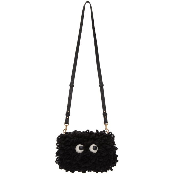 Image of Anya Hindmarch Black Shag Creeper Eyes Crossbody Bag
