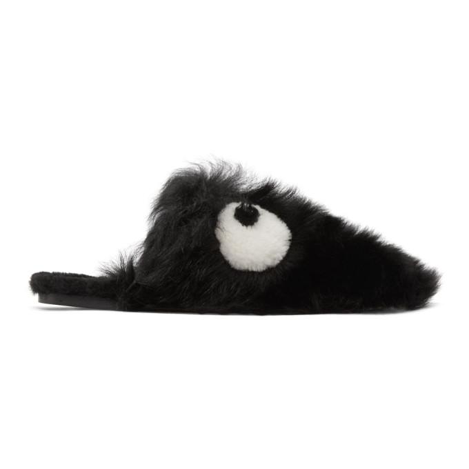 Anya Hindmarch-Black Shearling Creeper Eyes Slippers