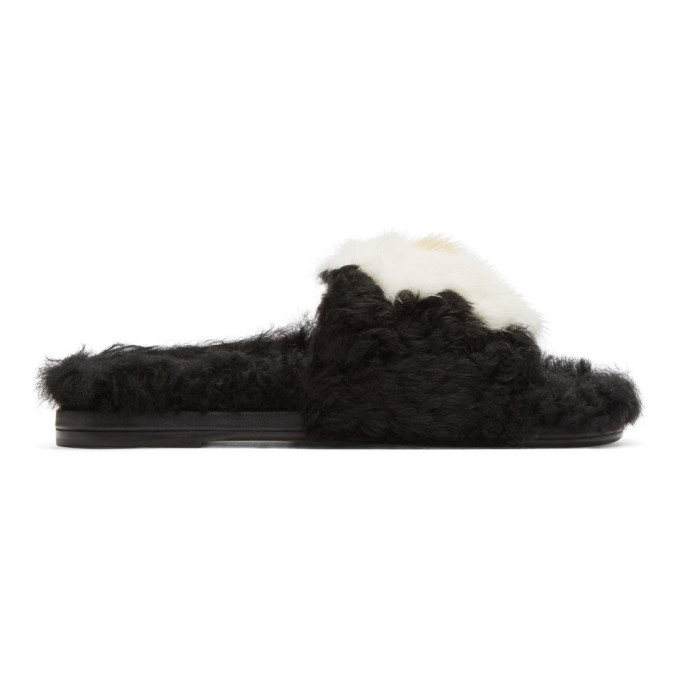 Image of Anya Hindmarch Black Shearling Egg Slides