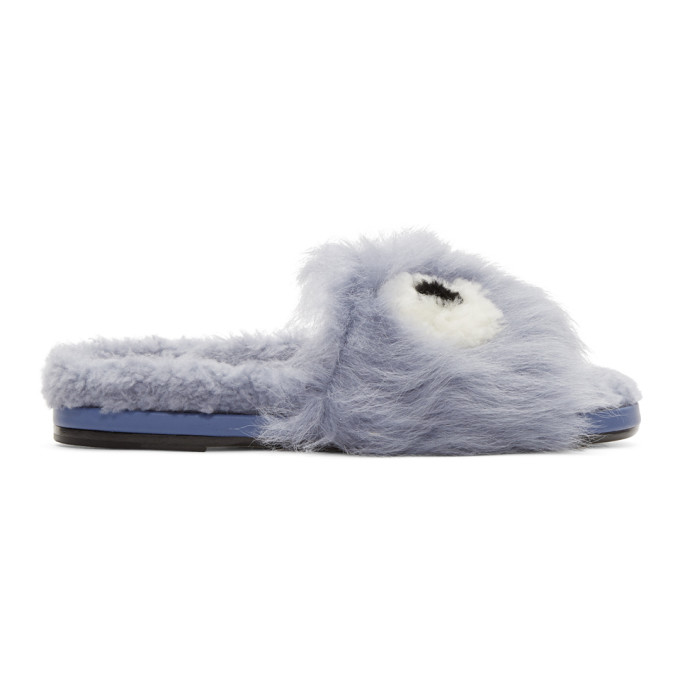 Image of Anya Hindmarch Blue Shearling Eyes Slides