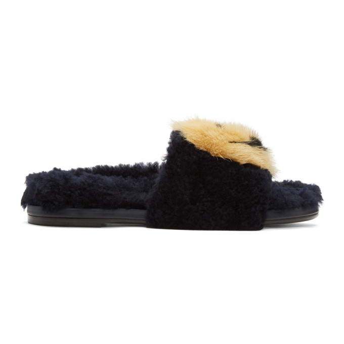 Anya Hindmarch-Indigo Shearling Smiley Slides