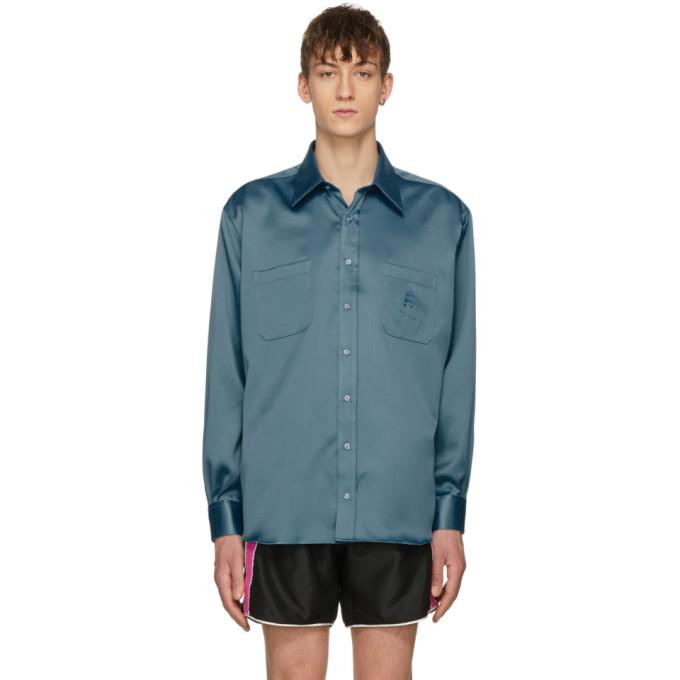 Image of Ribeyron Blue Two-Pocket Shiny Shirt