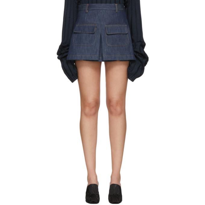 Image of Matthew Adams Dolan Indigo Denim Pockets Miniskirt