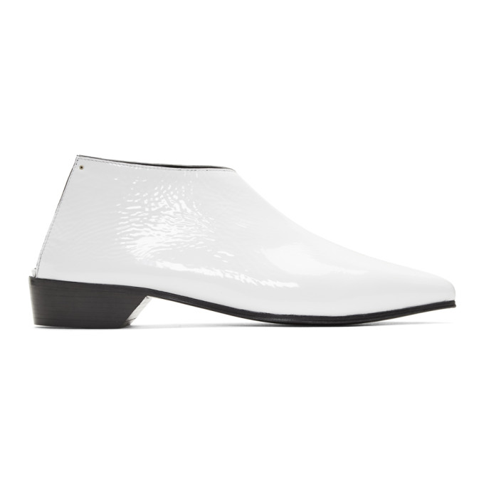 Image of Alumnae White Patent Mule Boots