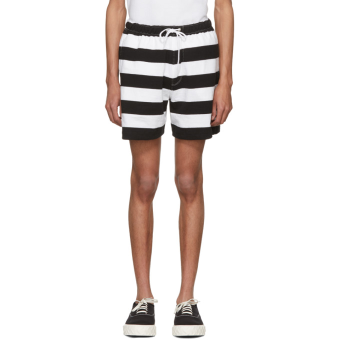 Image of Noah NYC Black & White Rugby Shorts