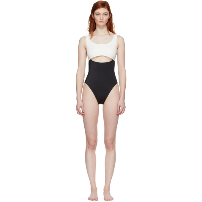 Image of Solid & Striped Black & Ivory The Natasha Swimsuit