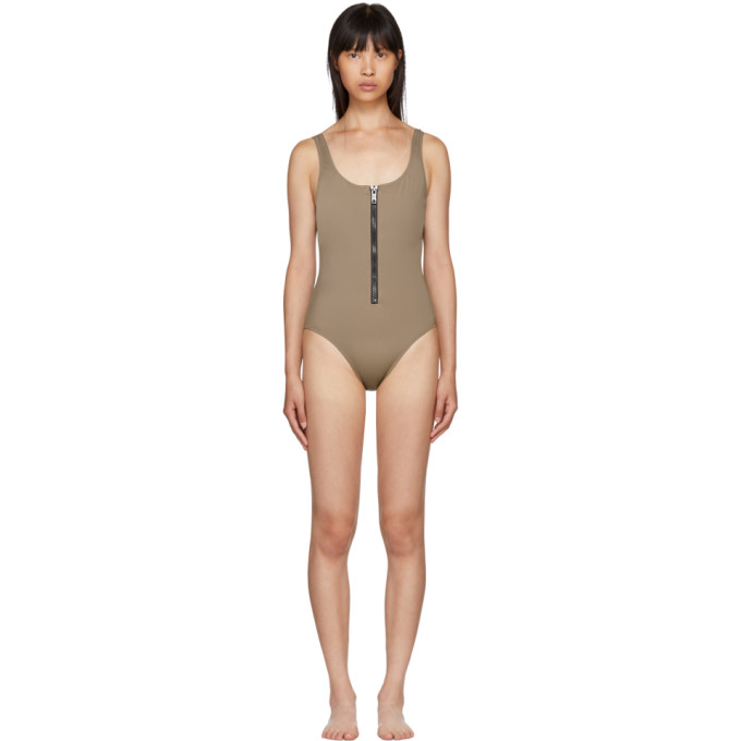 Solid & Striped Brown The Anne-Marie Zip Swimsuit