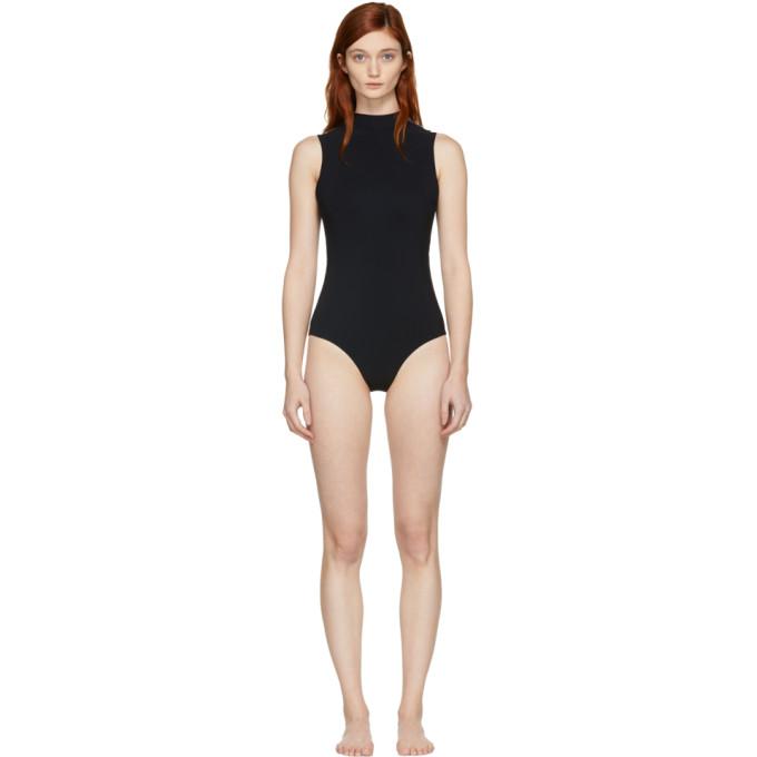 Image of Ward Whillas Reversible Black Harrison Turtleneck Swimsuit