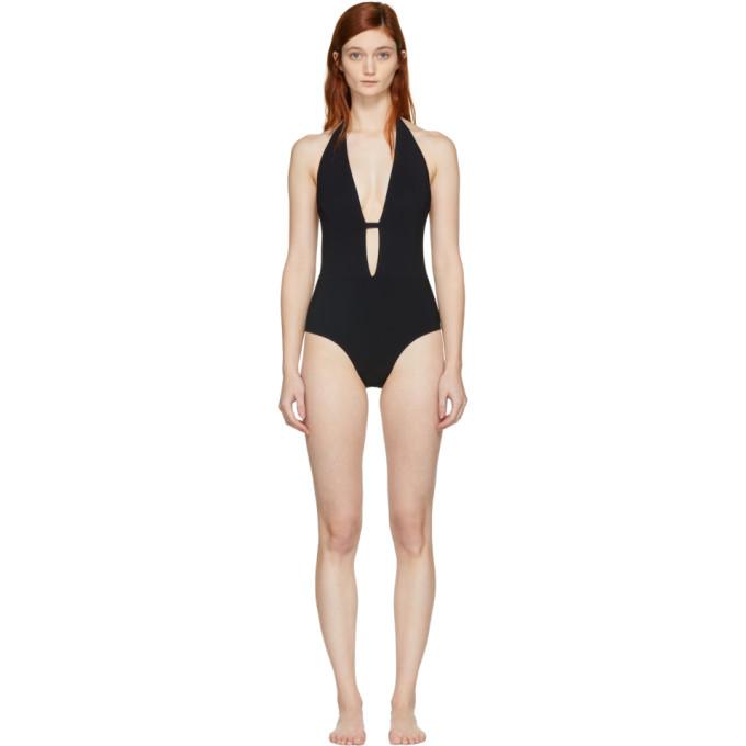 Image of Ward Whillas Black Farrah Halter Swimsuit