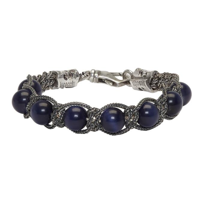 Image of Emanuele Bicocchi Silver & Blue Beaded Bracelet