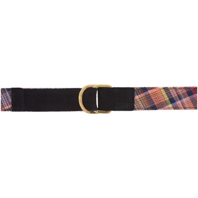 Image of Missoni Blue Check Pattern Belt