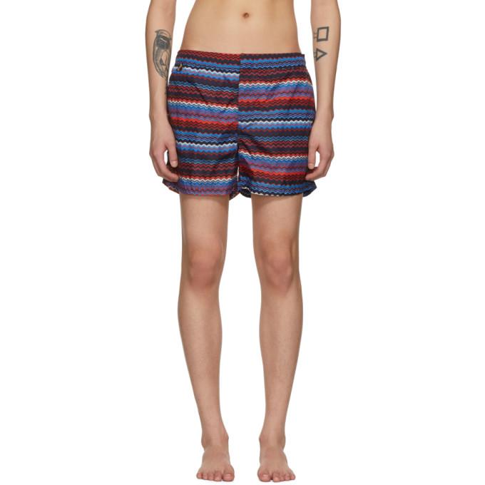 Image of Missoni Blue & Red Multi Zig Zag Swim Shorts