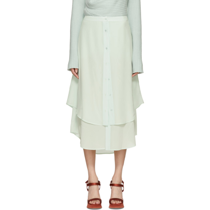 Image of Sies Marjan Green Silk Leo Button-Front Skirt